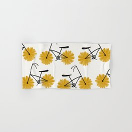 Flower Powered Bike Yellow Daisy Hand & Bath Towel