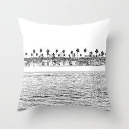 Vintage Newport Beach Print {4 of 4} | Photography Ocean Palm Trees B&W Tropical Summer Sky Throw Pillow