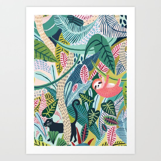 Jungle Sloth & Panther Pals by amberstextiles