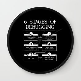 6 Stages Of Debugging Programming Coding Wall Clock