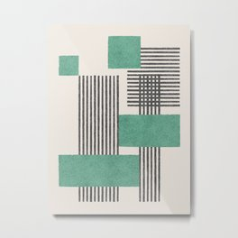 Stripes and Square Green Composition - Abstract Metal Print