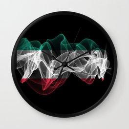 Kuwait Smoke Flag on Black Background, Kuwait flag Wall Clock