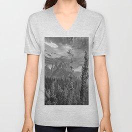Black Hills South Dakota Black White Print Unisex V-Neck