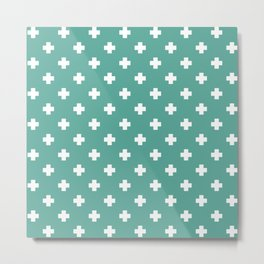 White Swiss Cross Pattern on Green Blue background Metal Print