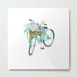 Vintage Aquamarine Bicycle with Flower Basket Metal Print