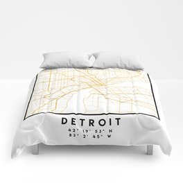 DETROIT MICHIGAN CITY STREET MAP ART Comforters