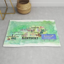 Kentucky USA State Illustrated Travel Poster Favorite Tourist Map Rug