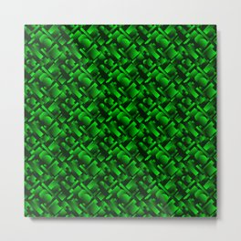 Geometric molecular design with circles and green rectangles from stripes. Metal Print