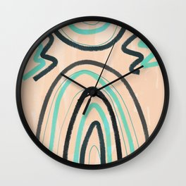 Abstract line art turquoise Wall Clock