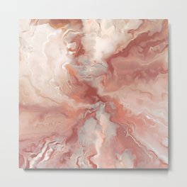 Abstract Watercolor, Blush and Rosegold, Marble, Ink Prints Metal Print