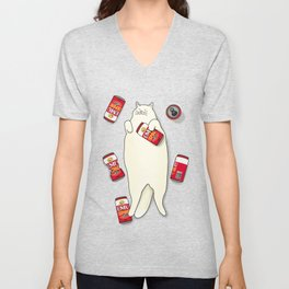 Red Can Cat Unisex V-Neck