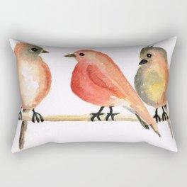 Three Birds Sitting On the Tree Rectangular Pillow
