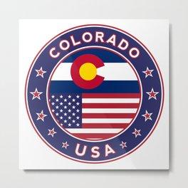 Colorado, Colorado t-shirt, Colorado sticker, circle, Colorado flag, white bg Metal Print