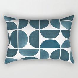 Teal Mid Century Modern Geometric Rectangular Pillow