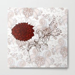 Aries Dahlia in red - Contemporary Botanical dahlia, fire, aries, botany, art, design, nanjing, sign Metal Print