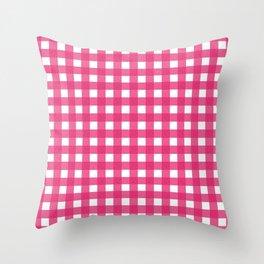 Farmhouse Gingham in Dark Pink Throw Pillow