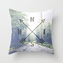 Forest Compass Throw Pillow
