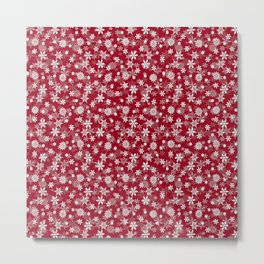 Festive Jester Red and White Christmas Holiday Snowflakes Metal Print