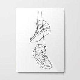 Sneakers simple minimal one line art, hanging shoes branded shoes  Metal Print
