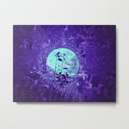 Full moon with flower stems silhouettes - teal grunge artwork Framed Art Print Metal Print