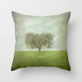 The Lone Olive Tree Throw Pillow
