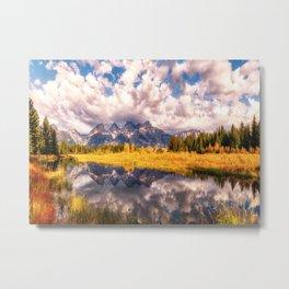The Grand Tetons Range Reflection Metal Print