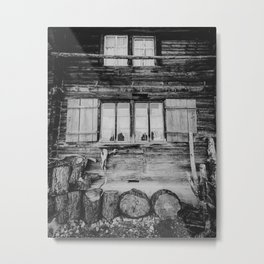 Mountain cabin in the Swiss Alps, Switzerland | Abandoned cottage with shutters | Black and white travel photography Metal Print