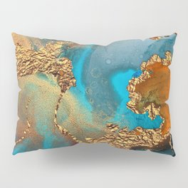 Abstract Blue And Gold Autumn Marble Pillow Sham