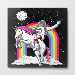 Astronaut Riding Unicorn Metal Print