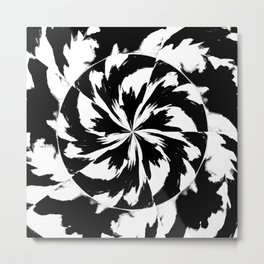 Tiger Abstract Black and White Metal Print