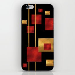 Red and Gold Foil Blocks iPhone Skin