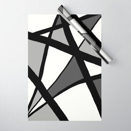 Geometric Line Abstract - Black Gray White Wrapping Paper
