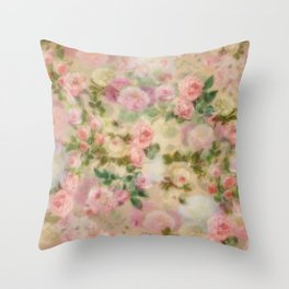 Pink Vintage Flowers Throw Pillow