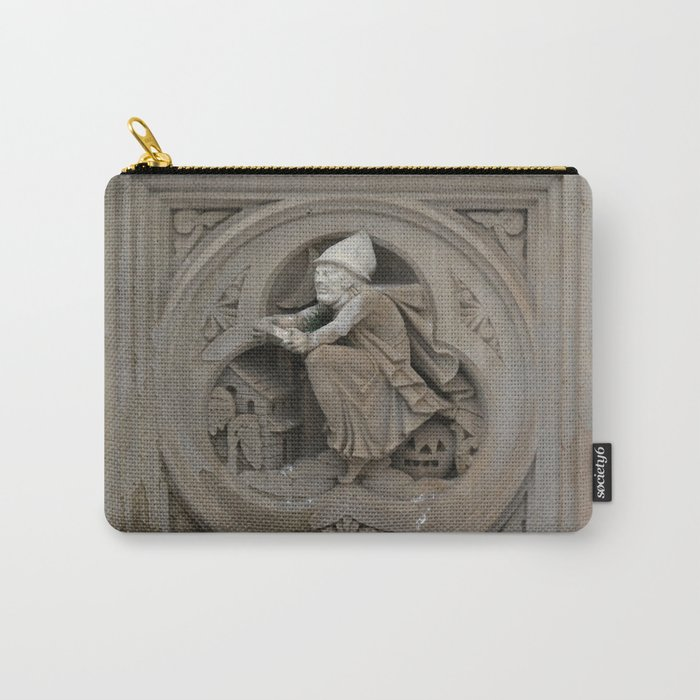 Halloween Witch on Broom 3d Stone Carving Photo Carry-All Pouch by Christine aka stine1