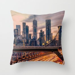 Traffic over the Brooklyn Bridge, New York City Throw Pillow