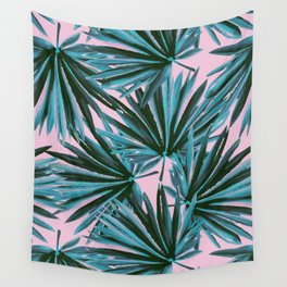 Tropical Palm Leaves in Botanical Green + Pink Wall Tapestry
