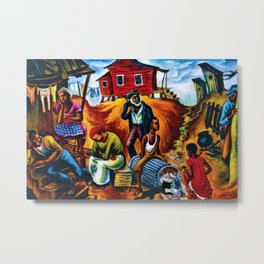 """African American Classical Masterpiece """"Study for the Results of Poor Housing"""" by Hale Woodruff Metal Print"""