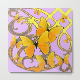 GREEN-PINK MODERN ABSTRACT YELLOW BUTTERFLIES Metal Print