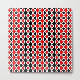 Red Black and White Pattern Metal Print
