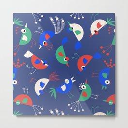 Geometric Birdies Metal Print