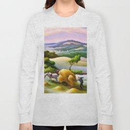 Classical Masterpiece 'Chilmark Hay' by Thomas Hart Benton Long Sleeve T-shirt