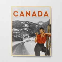 Canada Vintage Travel Poster with 35 mm Film Metal Print