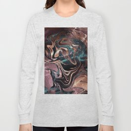 Metallic Rose Gold Marble Swirl Long Sleeve T-shirt