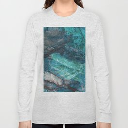 Cerulean Blue Marble Long Sleeve T-shirt