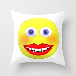 Smiley Female With Big Smiling Mouth Throw Pillow
