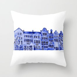 Row of Houses – Navy Palette Throw Pillow