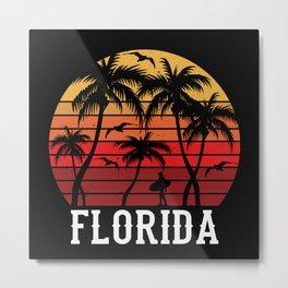 Florida Palm Tree Holiday Motif Gift Idea Design Metal Print