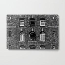 Brick Black and White Metal Print