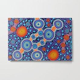 Authentic Aboriginal Art - The Journey Blue Metal Print