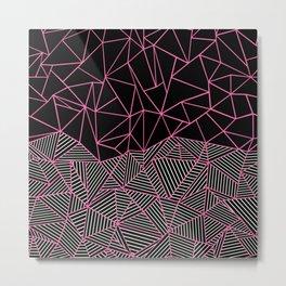 Ab Half an Half Black and Pink Metal Print